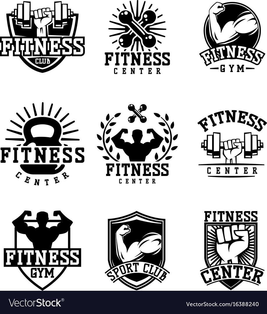 Monochrome fitness emblem design element gym sport vector image