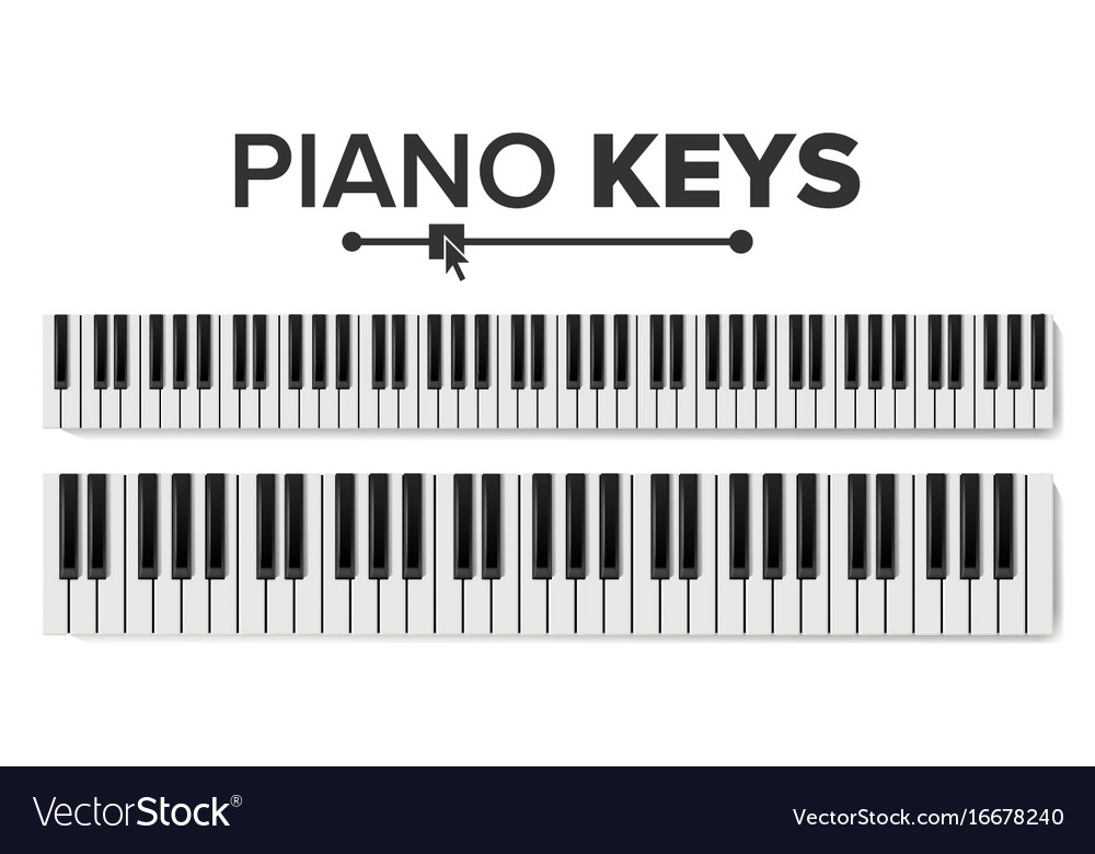 Piano keyboards isolated top