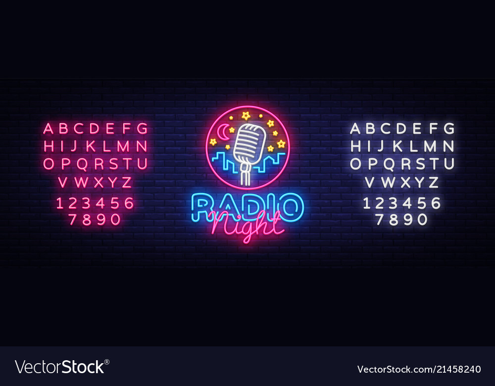 Radio night neon logo radio night neon