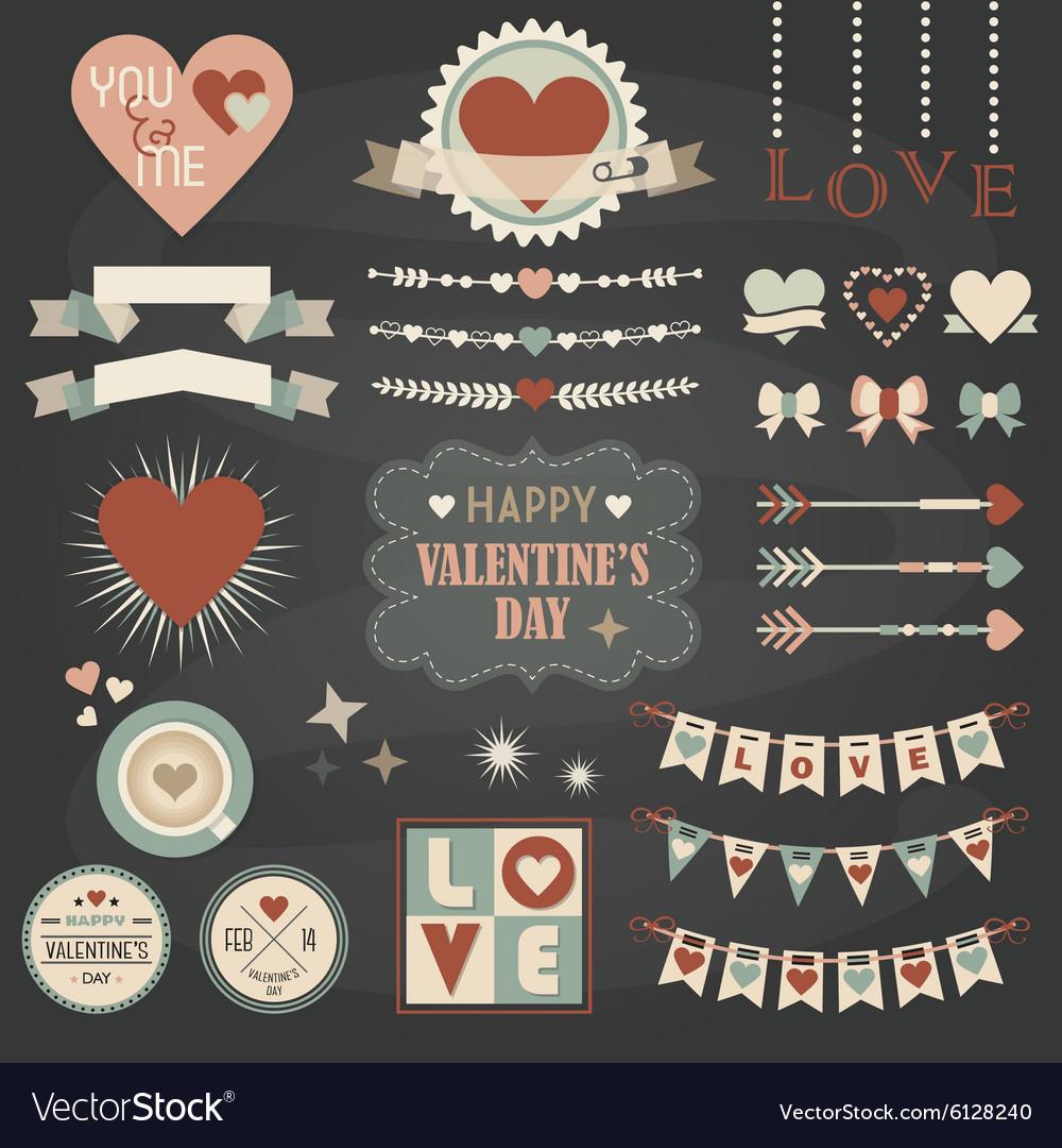 Valentines Day design and decoration elements set