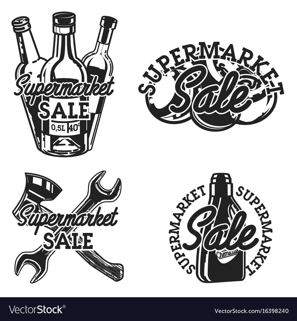 Vintage supermarket sale emblems
