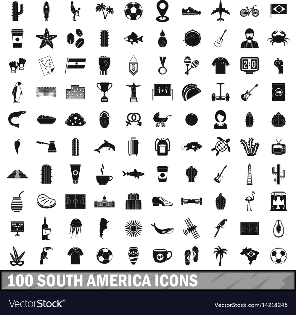 100 south america icons set simple style