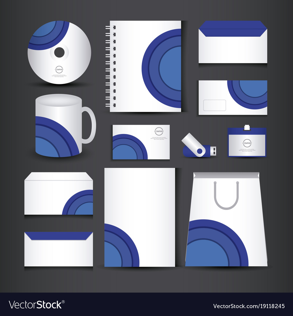 Blue and white stationery template design