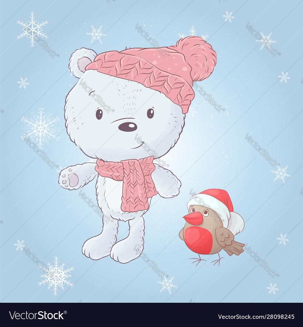 Cute cartoon white bear in a hat with a bullfinch