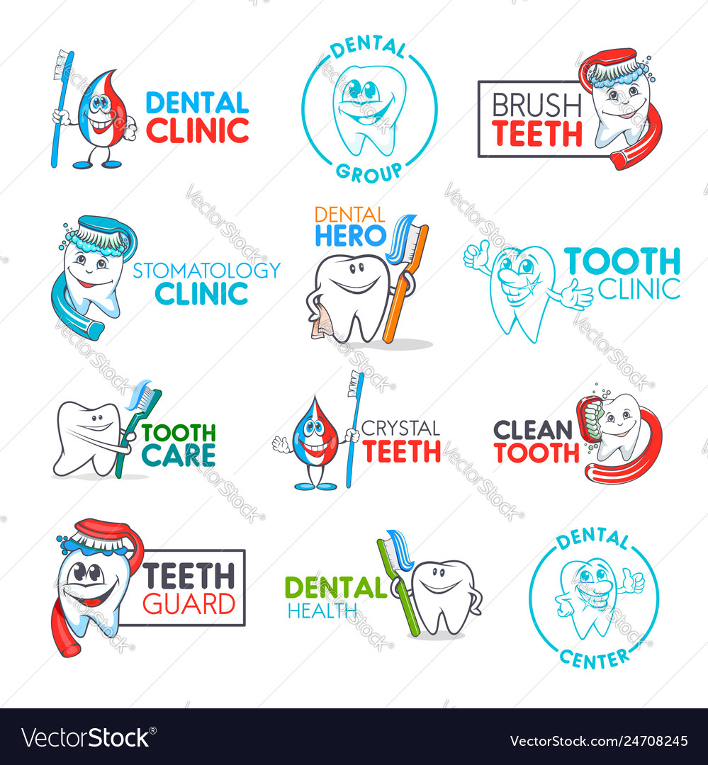 Dental clinic cartoon tooth and toothbrush icons