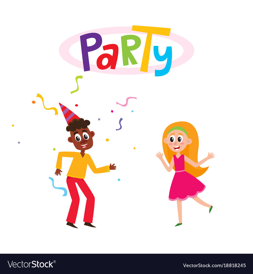 Flat man and girl dancing in party hat
