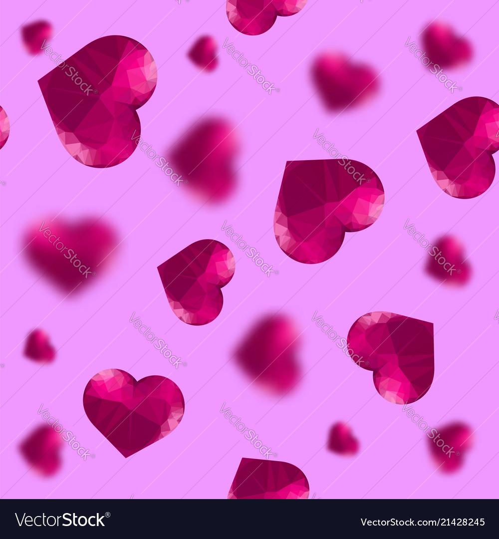 Glass polygonal heart random seamless pattern