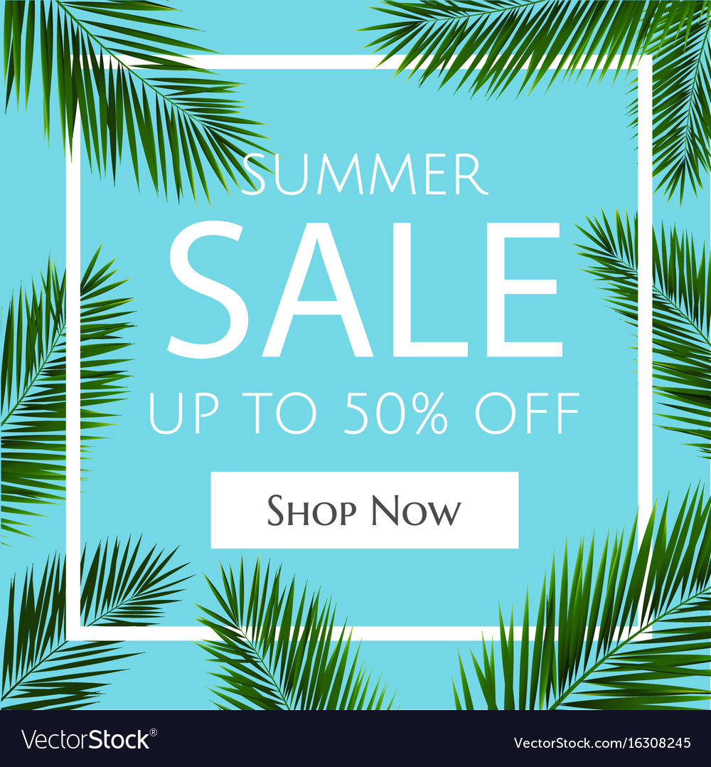 Sale banner with palm trees