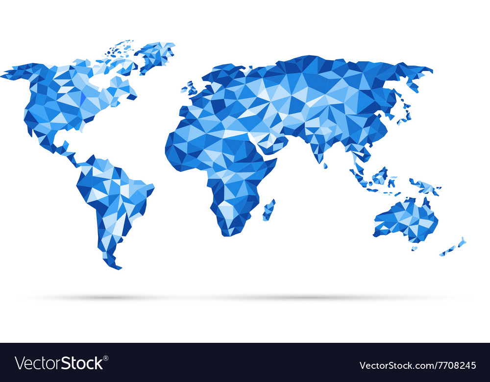 World map polygonal precision low poly blu vector image gumiabroncs