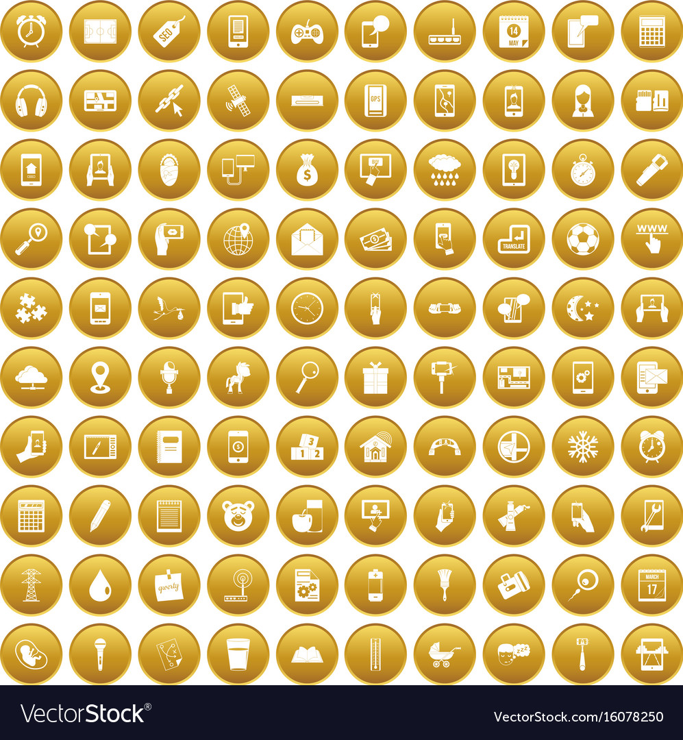 100 mobile app icons set gold