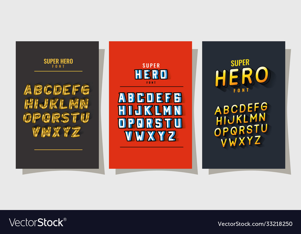 3d super hero font lettering and alphabet on red