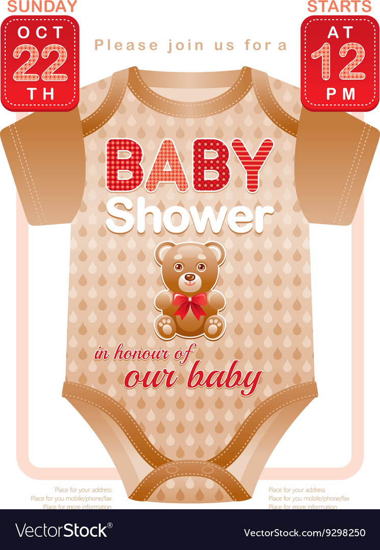 Baby shower unisex invitation design for boy or vector image