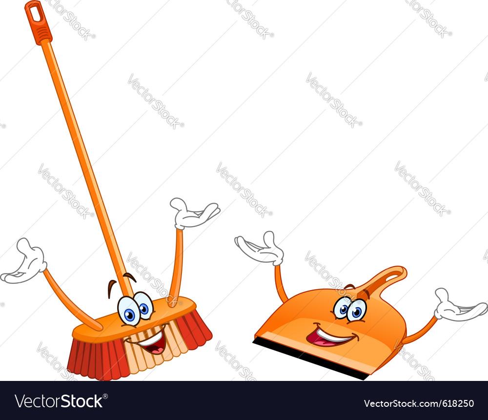 Broom and dustpan cartoon vector image