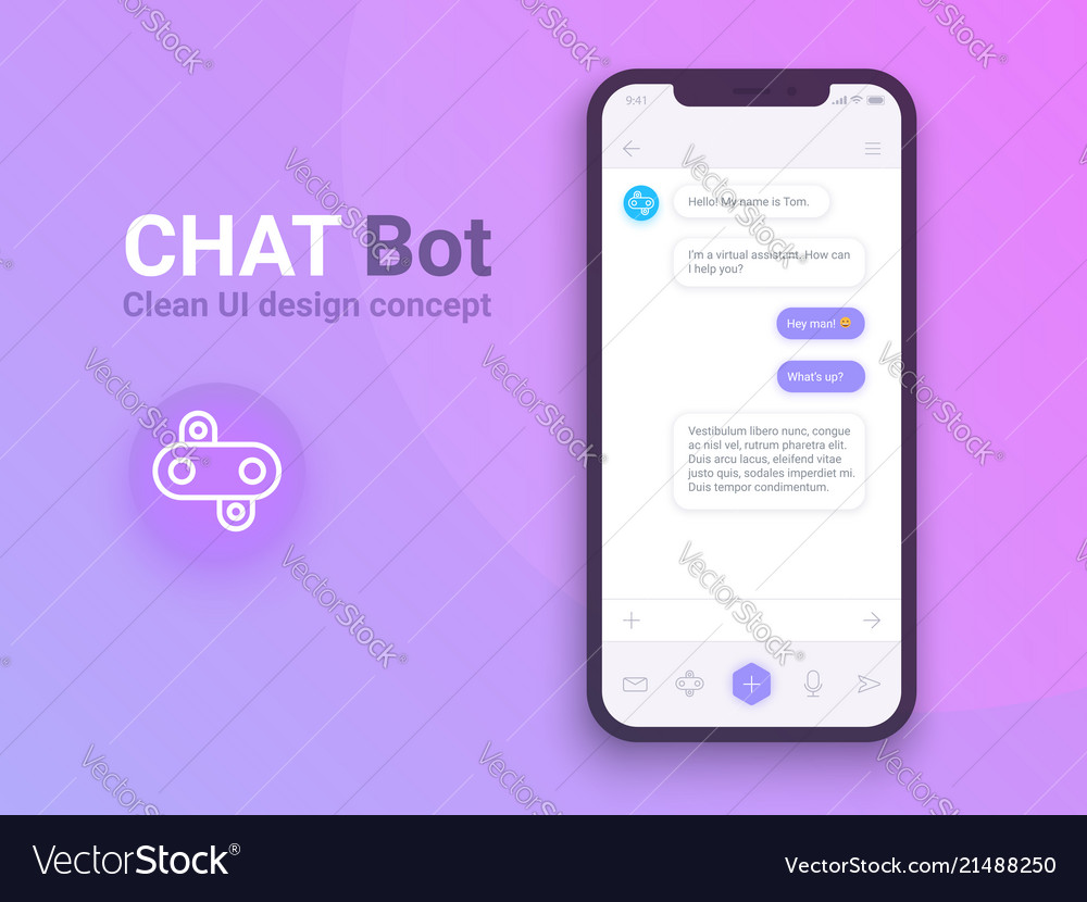Clean mobile ui design concept trendy chatbot