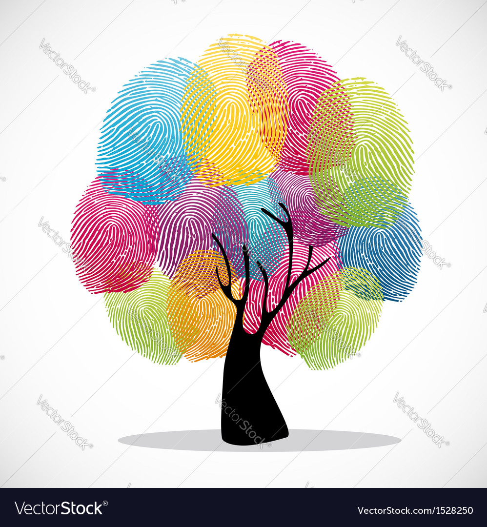 Colorful finger prints tree