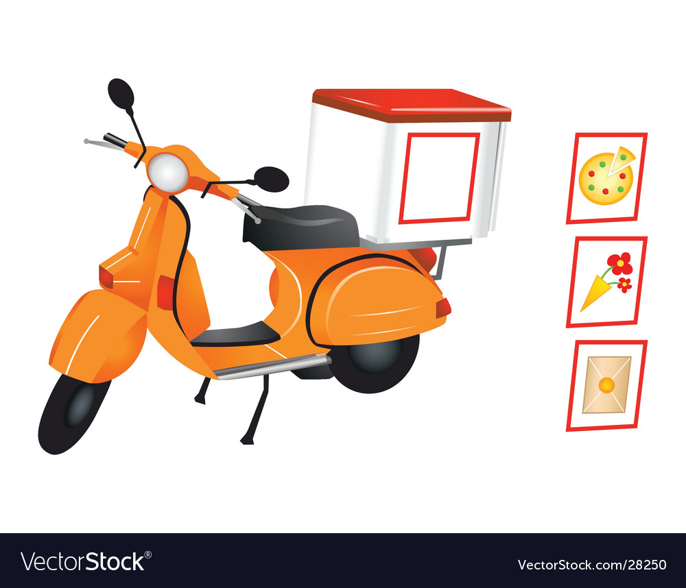 delivery scooter royalty free vector image vectorstock vectorstock
