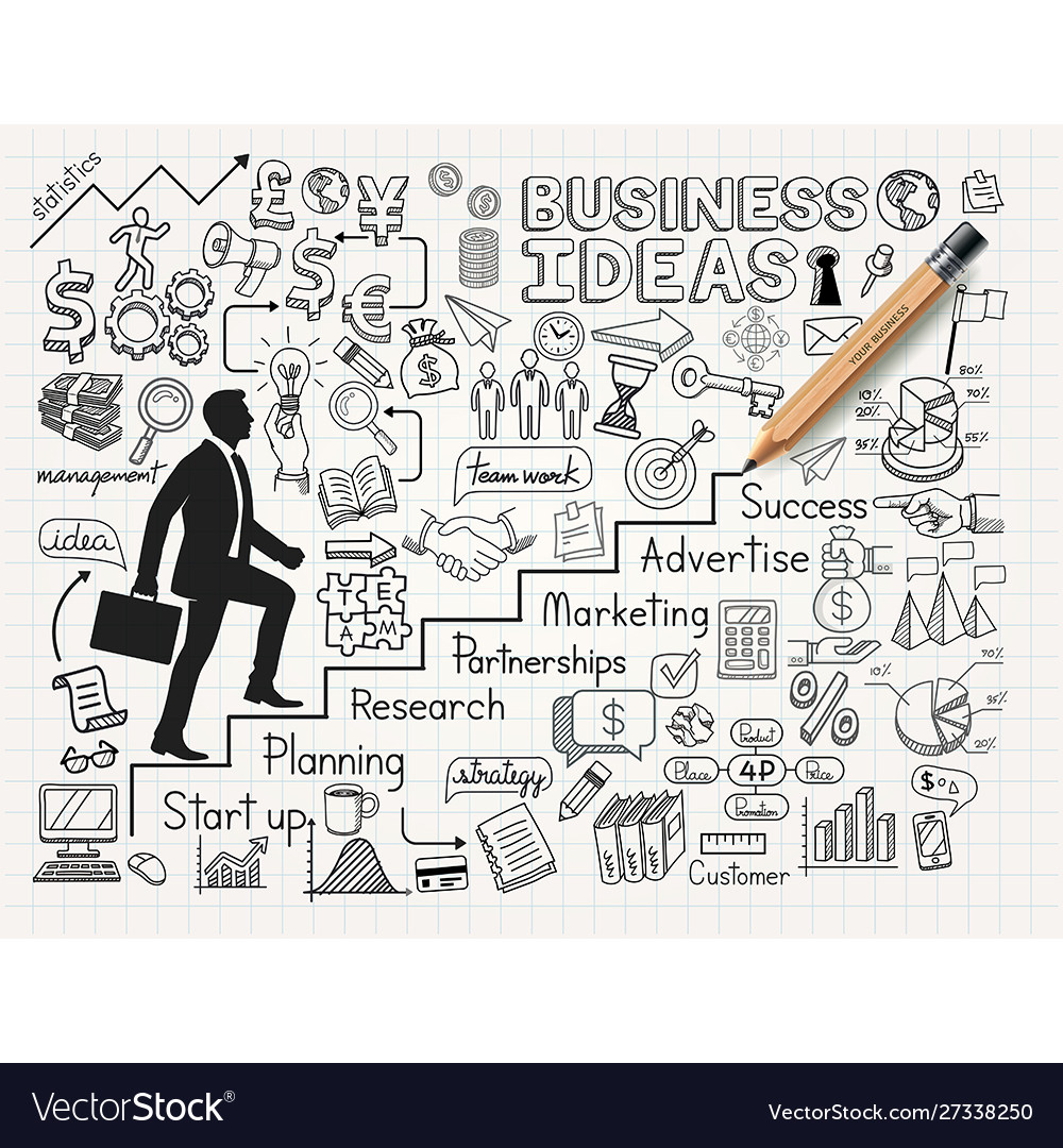 Drawing businessman idea doodles icons