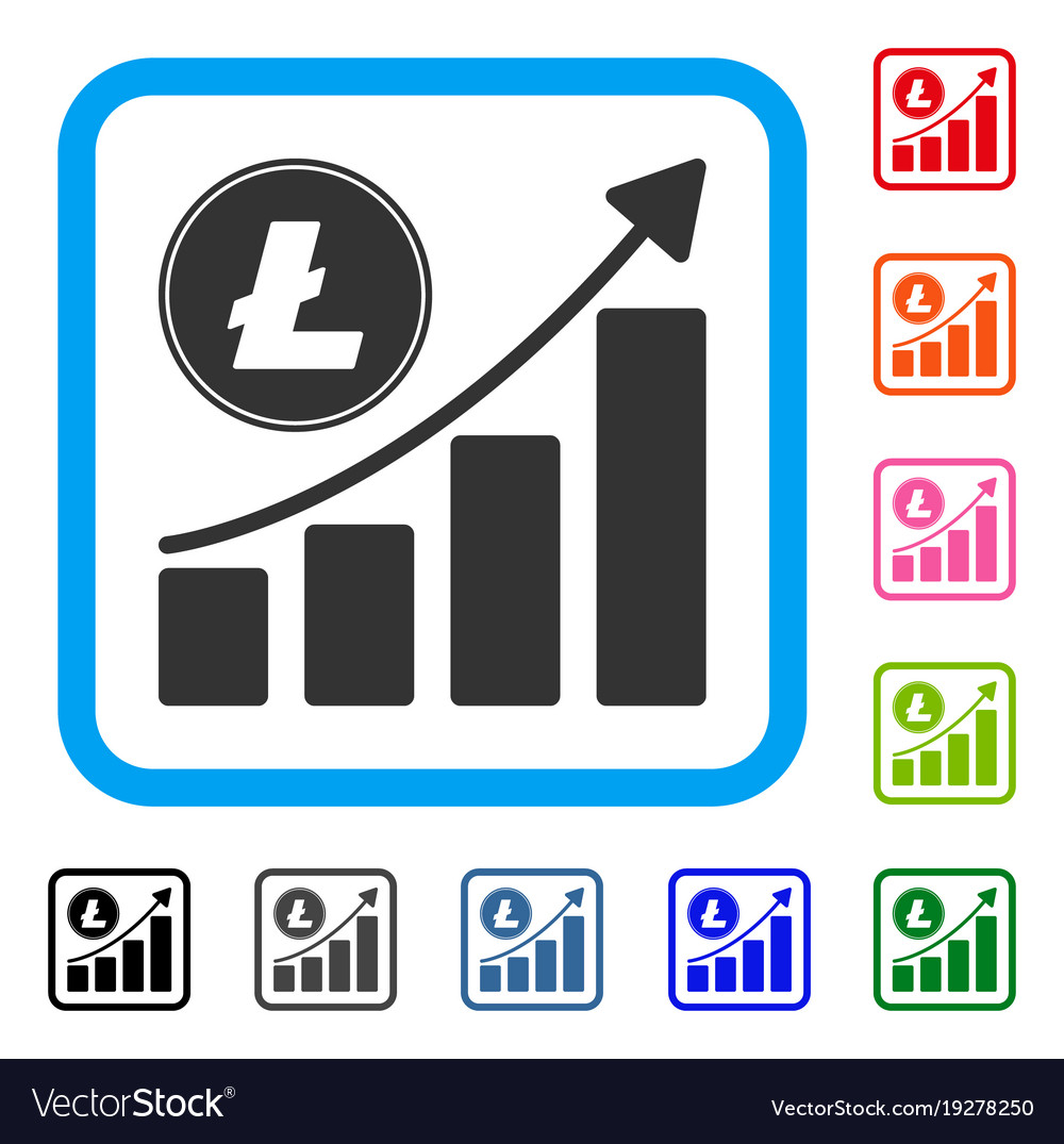 Litecoin growing chart trend framed icon