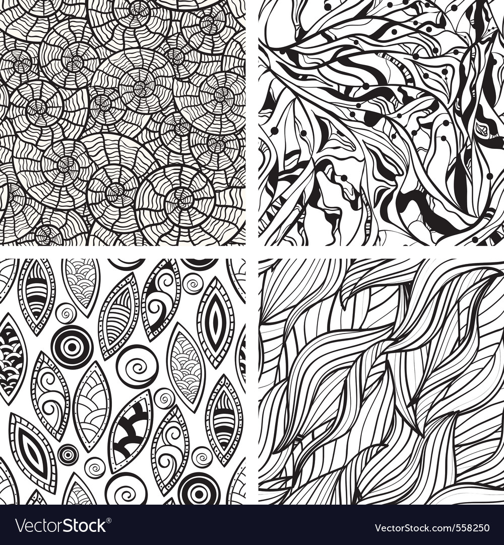 Seamless hand drawn patterns vector image