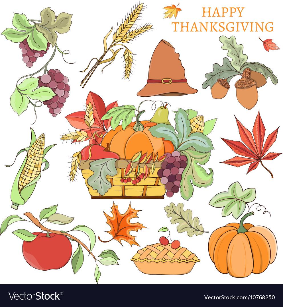 Thanksgiving holiday set vector image