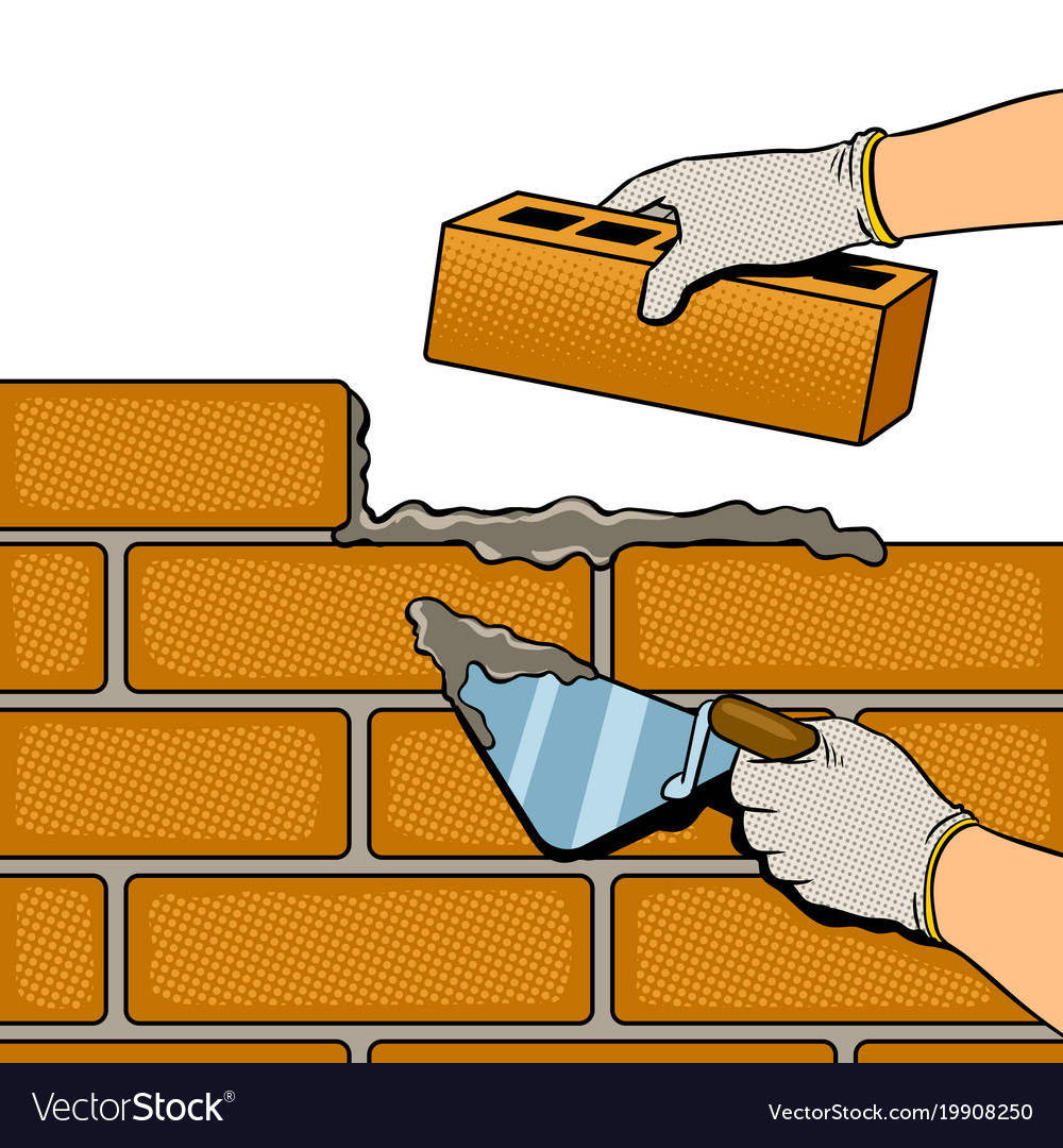 Wall building process pop art