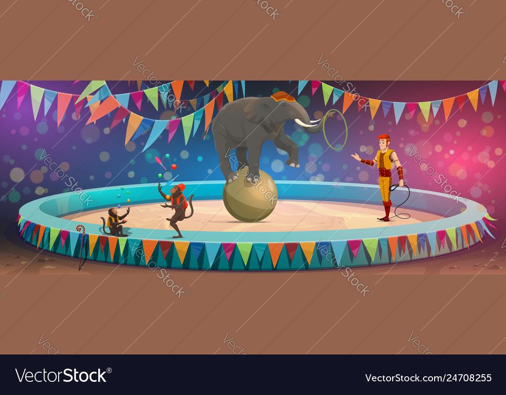 Big top circus arena elephant on ball and monkeys