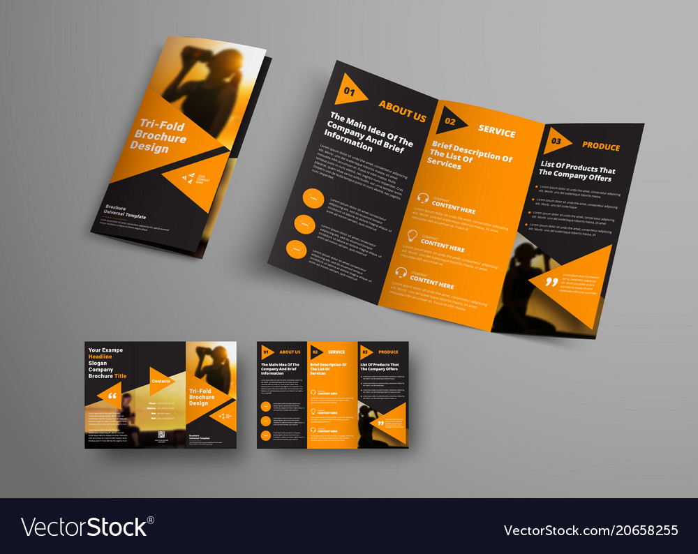 black triple folding brochure template with vector image on vectorstock