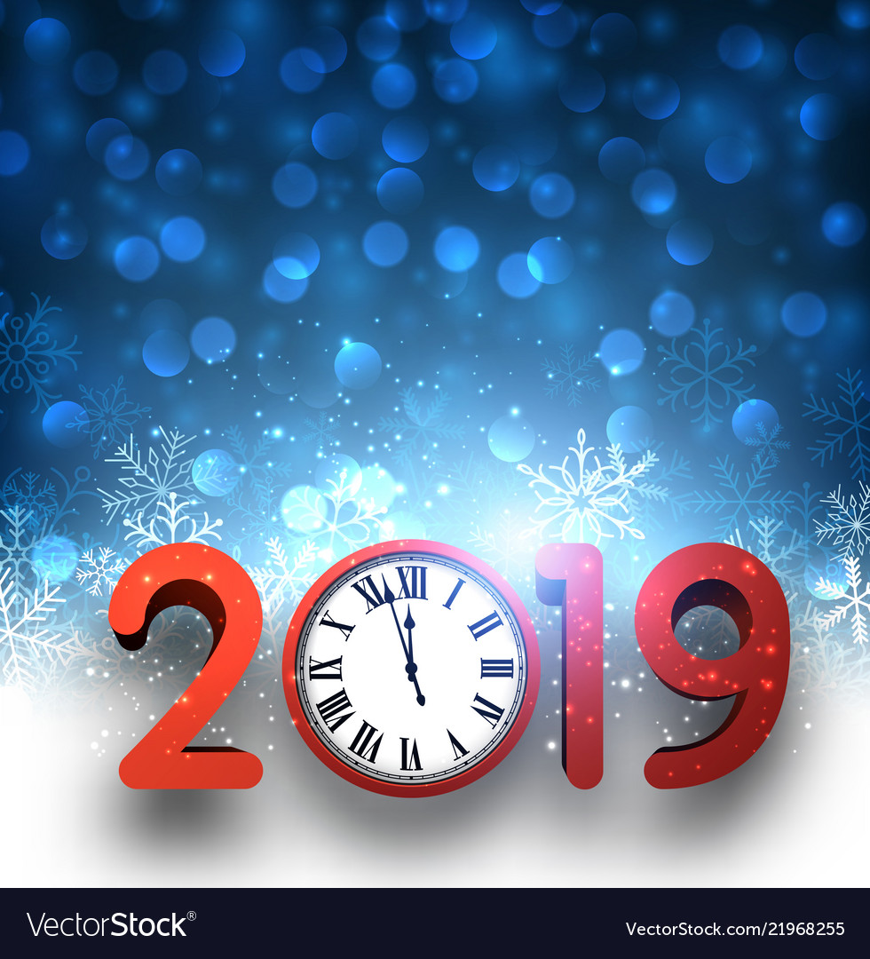 blue 2019 new year background with red clock and vector image