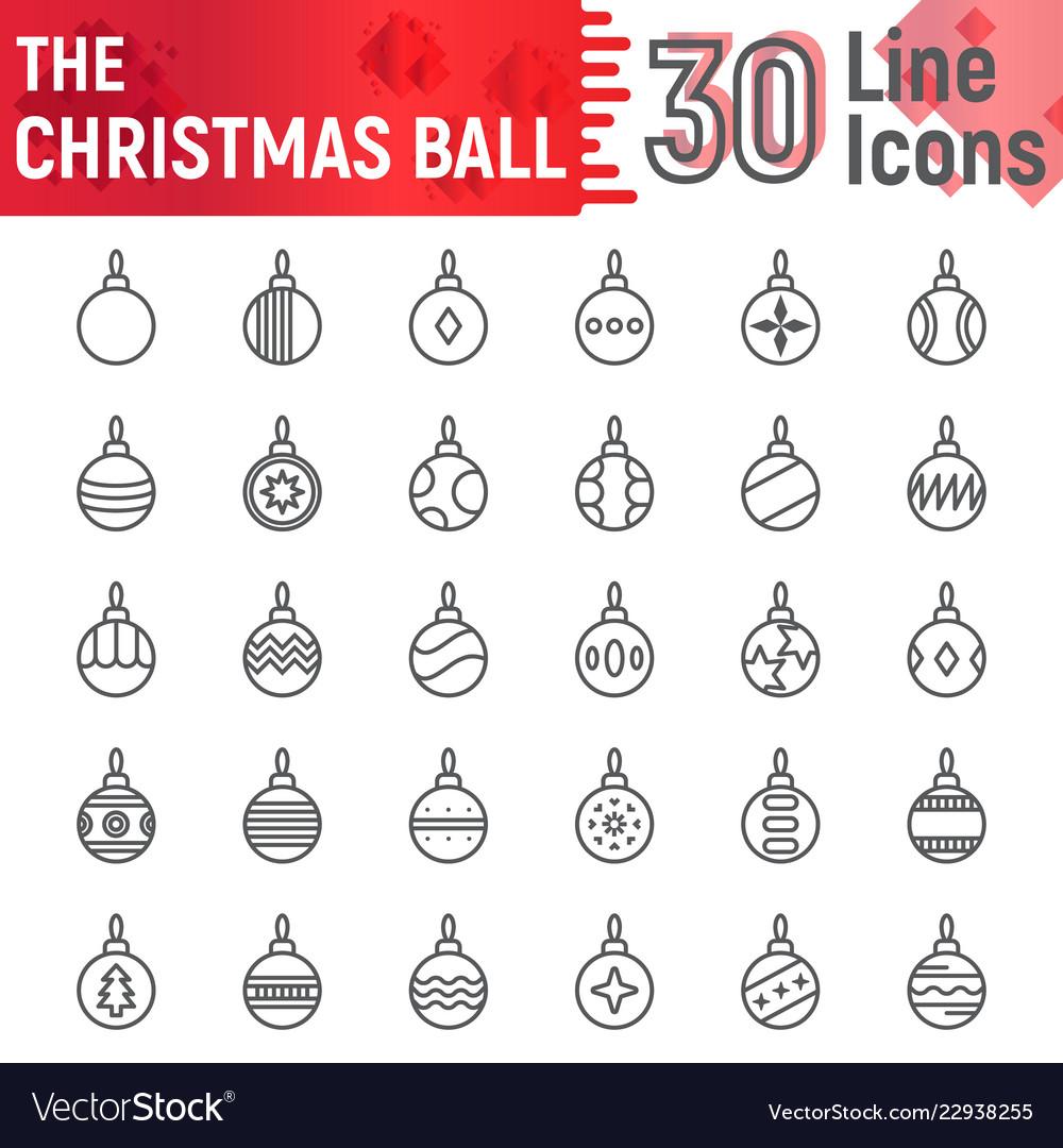 Christmas ball line icon set xmas toy symbols