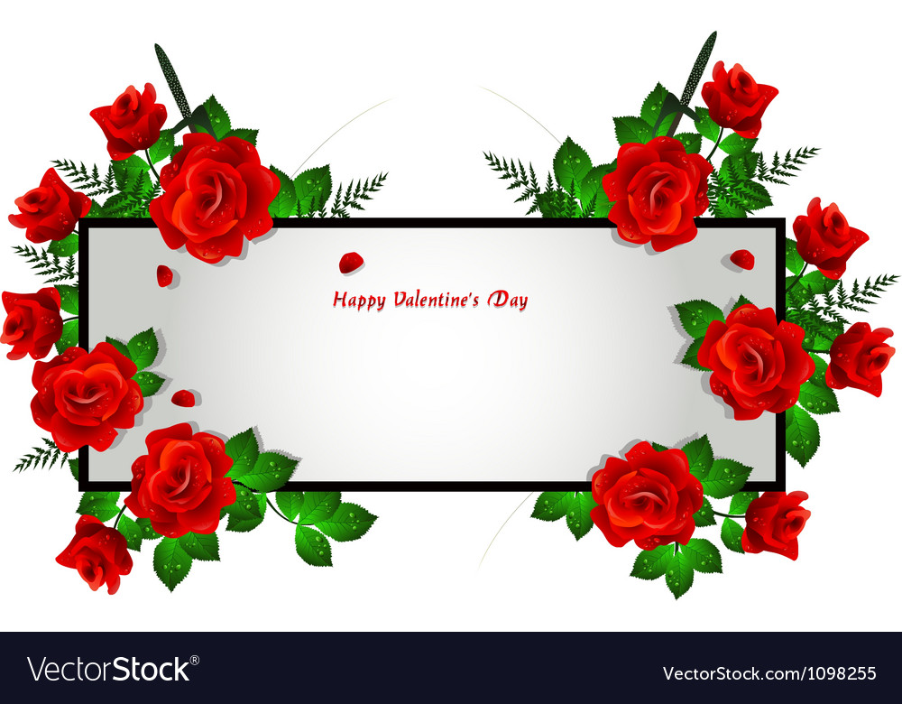 Decoration with red rose frame Royalty Free Vector Image