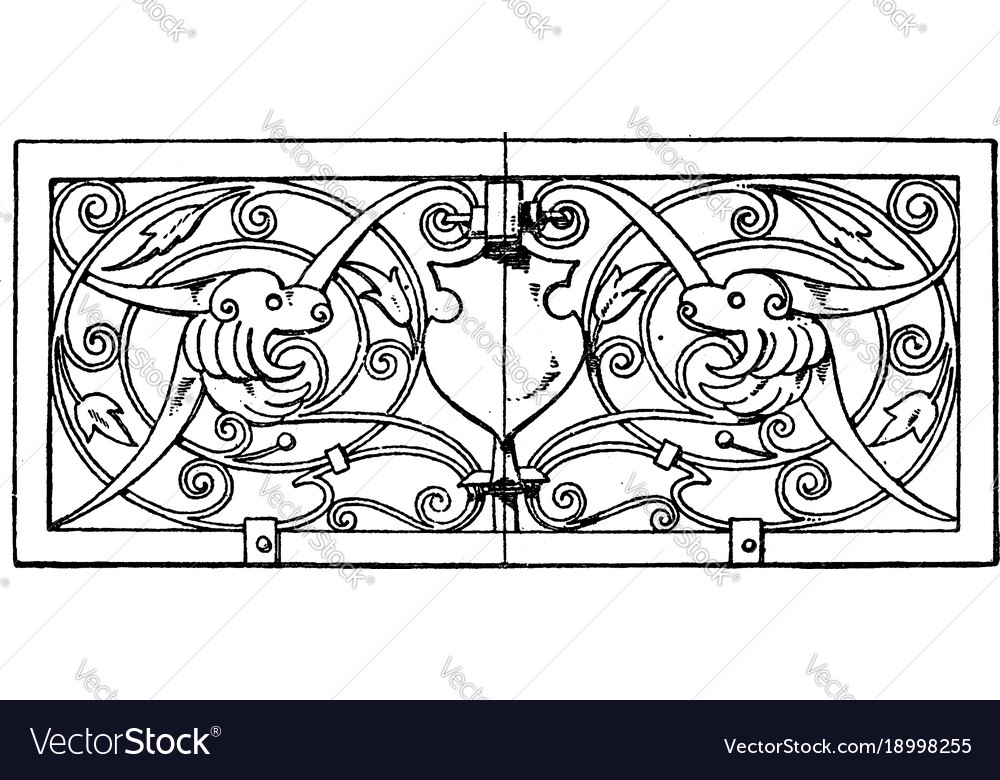 Grill oblong panel was designed in 1649 vintage