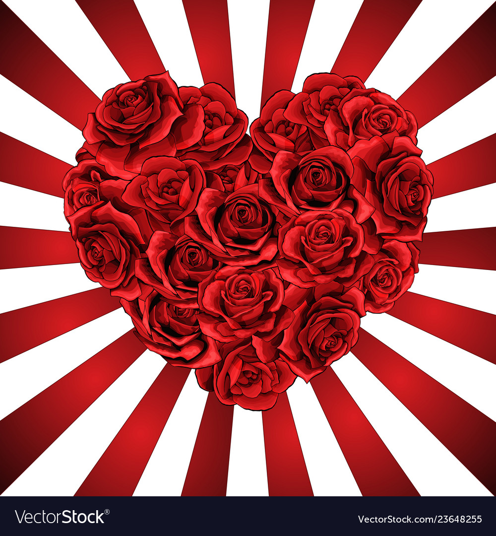 Heart made of red roses in photorealistic detailed