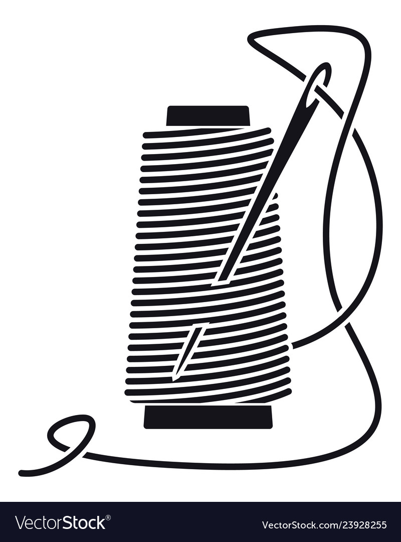 Icon sewing thread on spools isolated coil