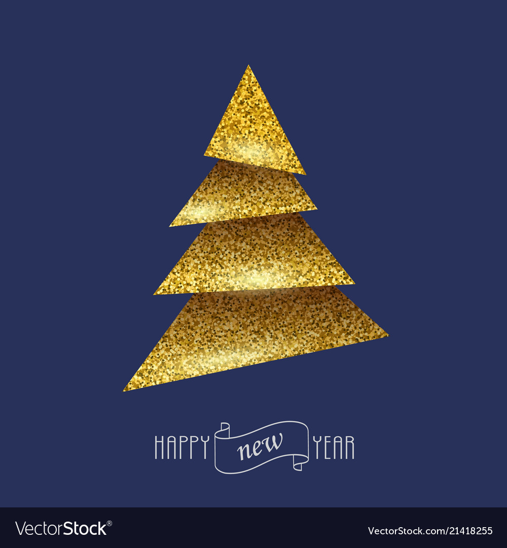 Merry Christmas Card With Golden Christmas Tree