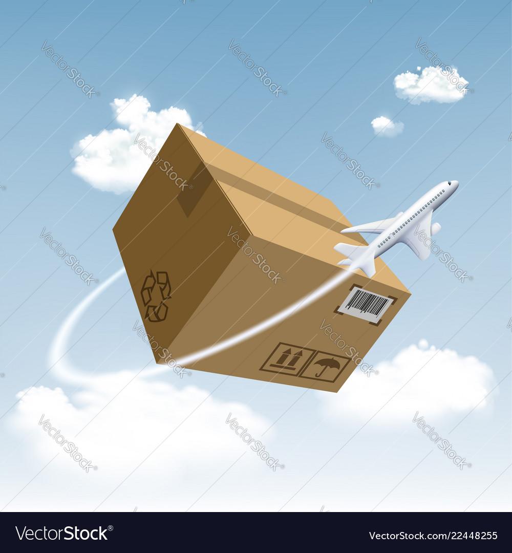 Plane flies around cardboard box
