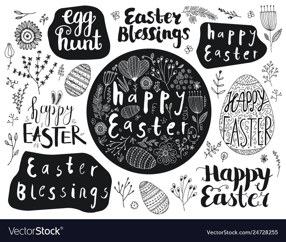 Set easter hand drawn lettering eggs