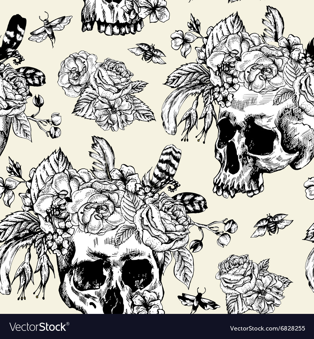 Skull Flowers Day of The Dead Black and