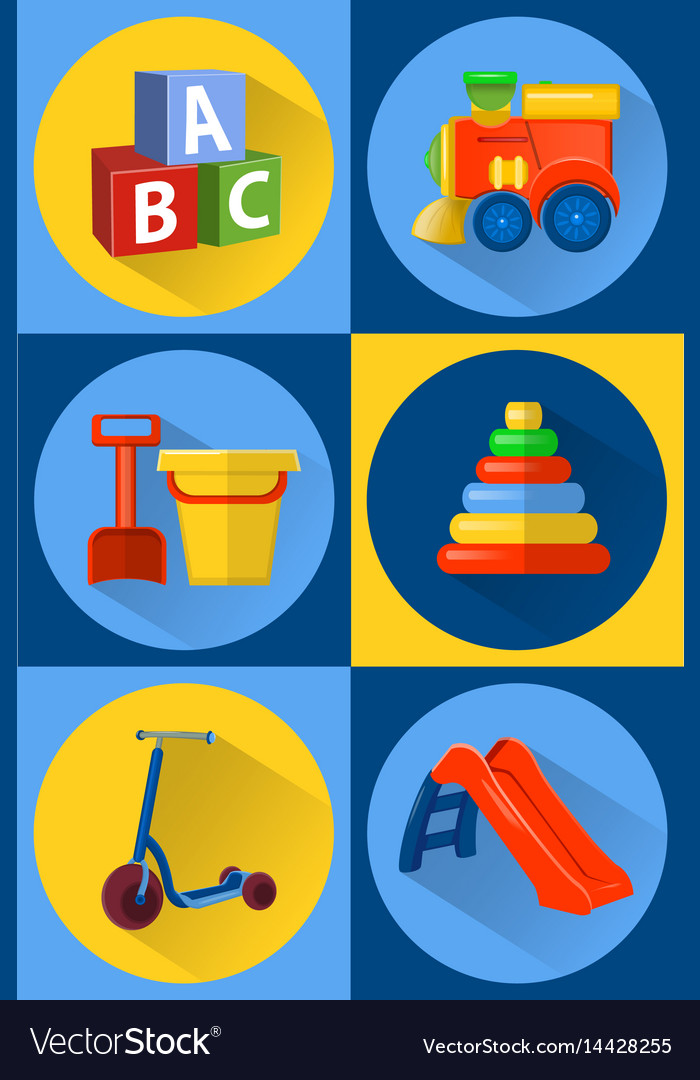 Toys for children icons flat