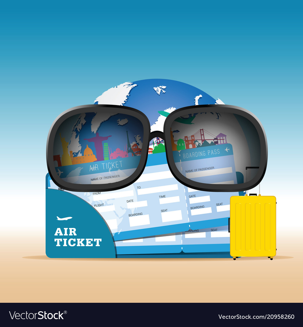 Air ticket with globe