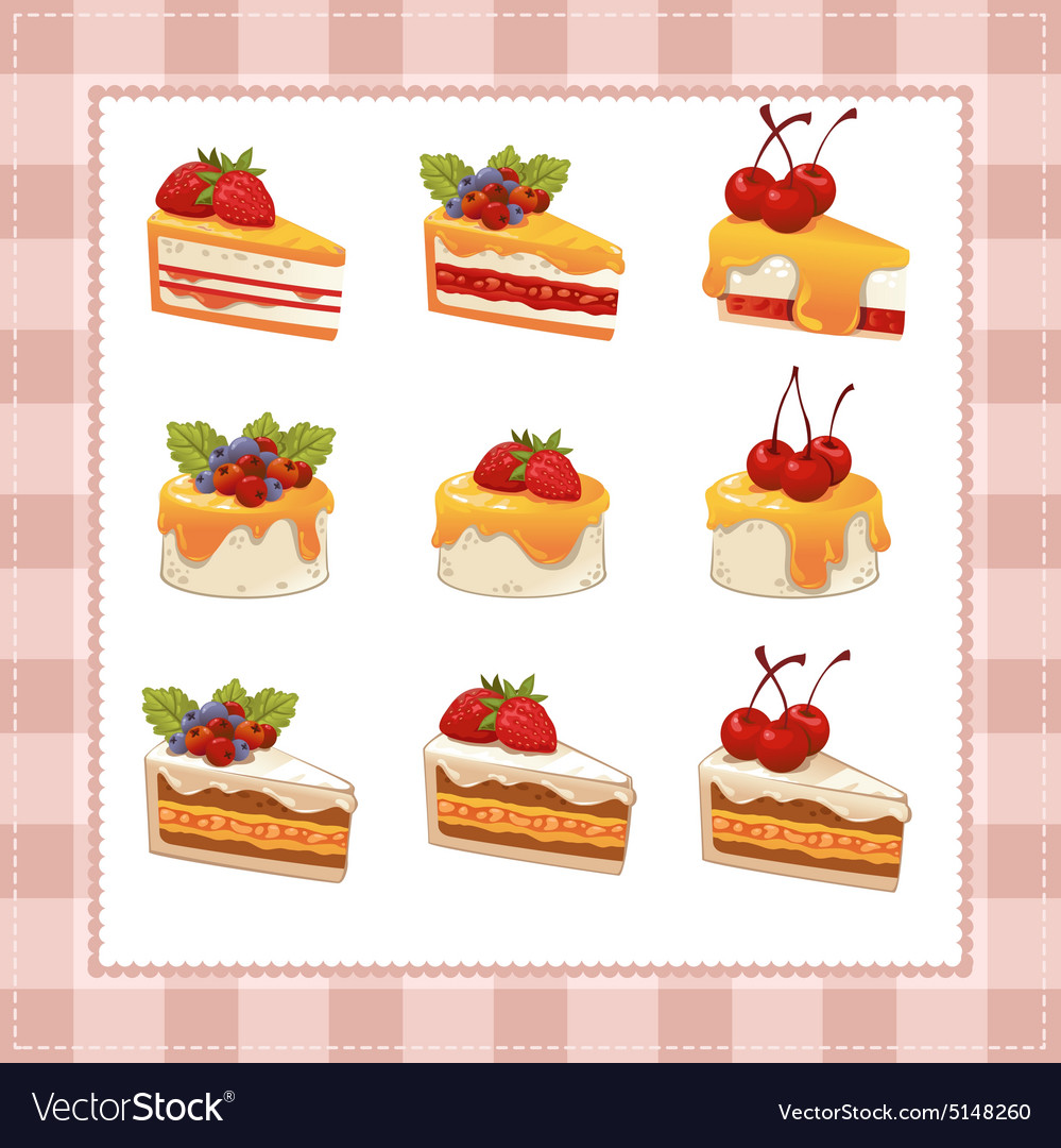 Collection of cakes on white background