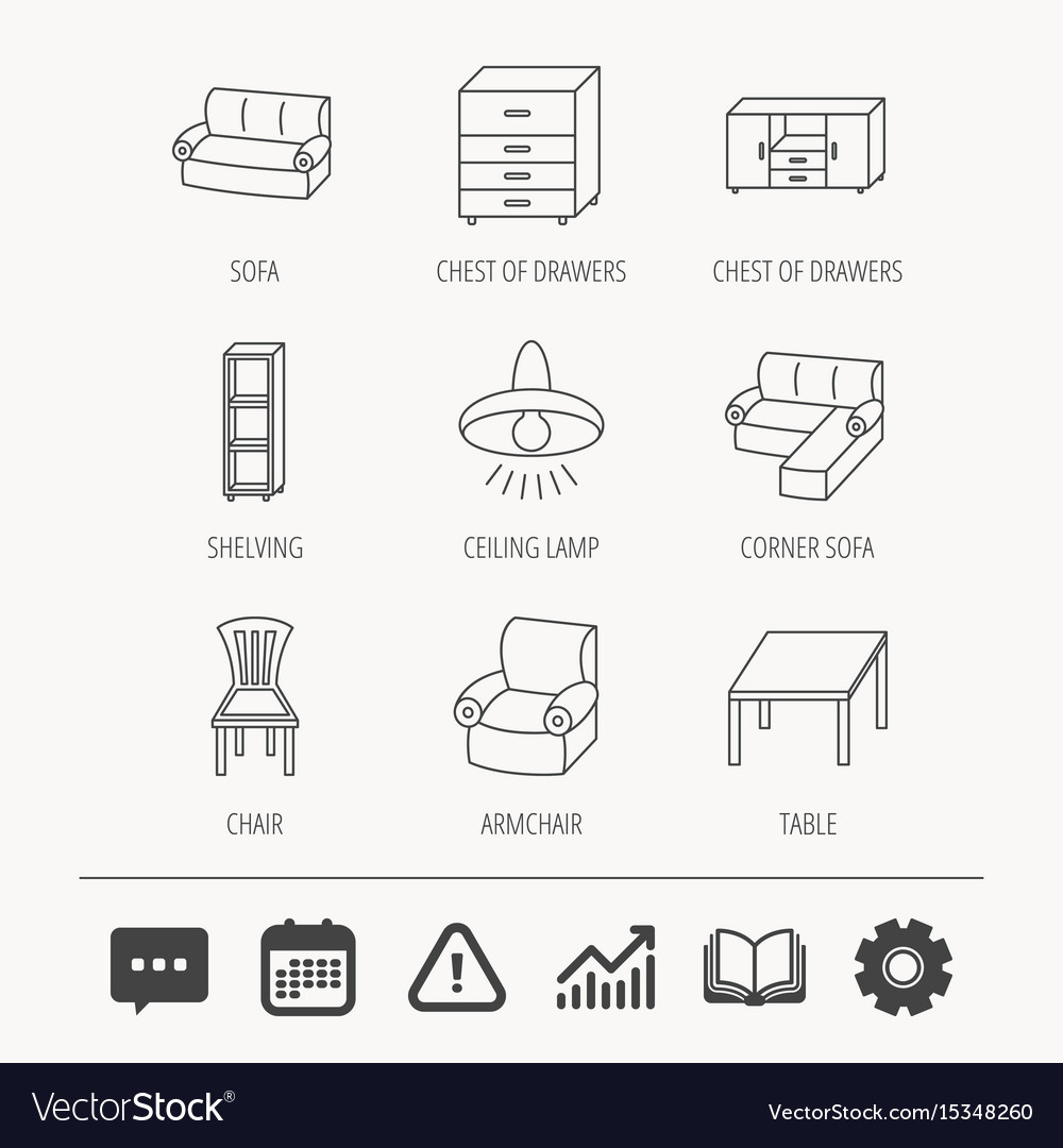 Corner Sofa Table And Armchair Icons Royalty Free Vector