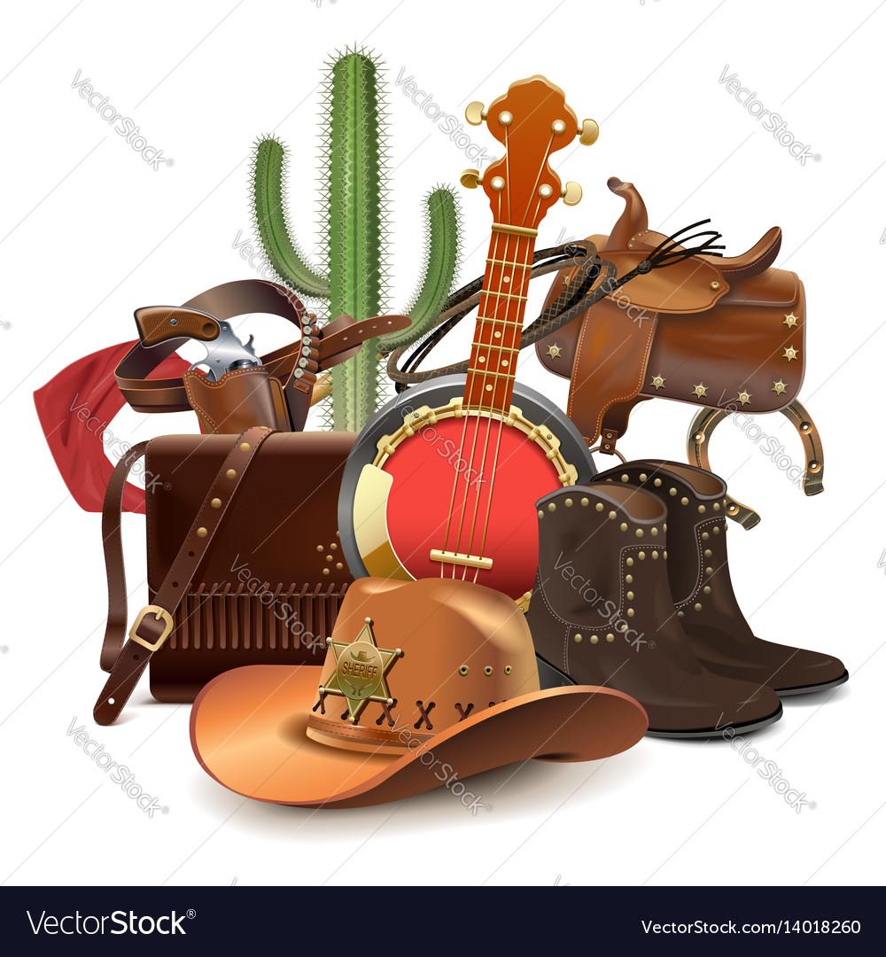 Cowboy concept with banjo