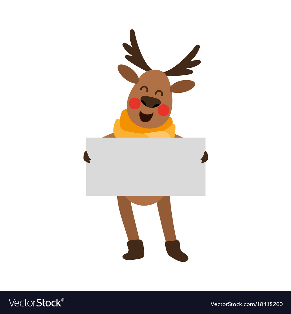 8d46ae5164ea9 Funny christmas reindeer holding whint empty board vector image