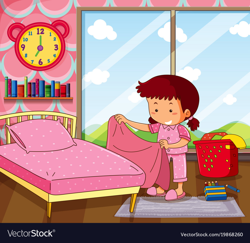 Bedroom Clip Art: Girl Making Bed In Pink Bedroom Royalty Free Vector Image