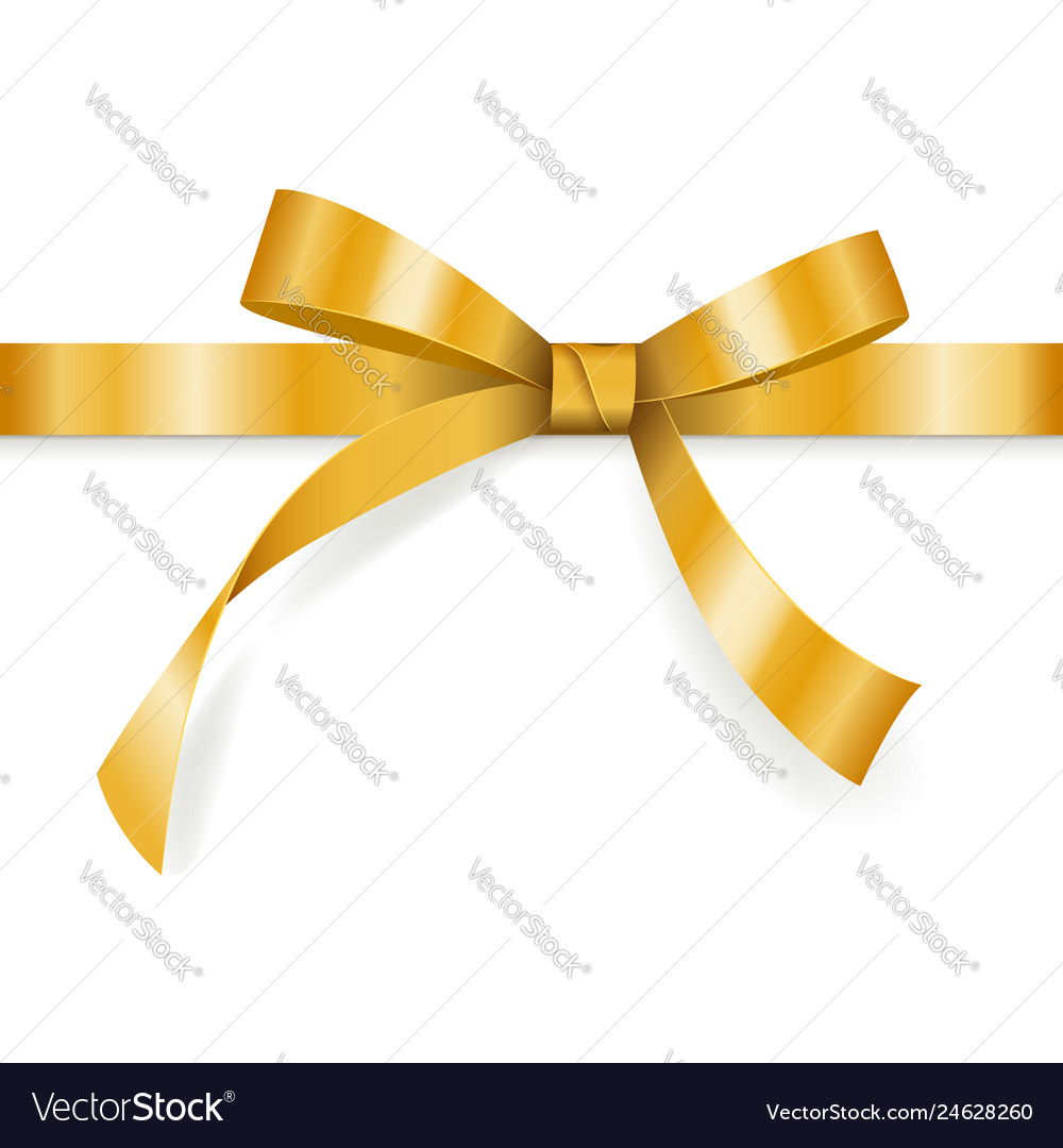 Golden bow with horizontal ribbon isolated on