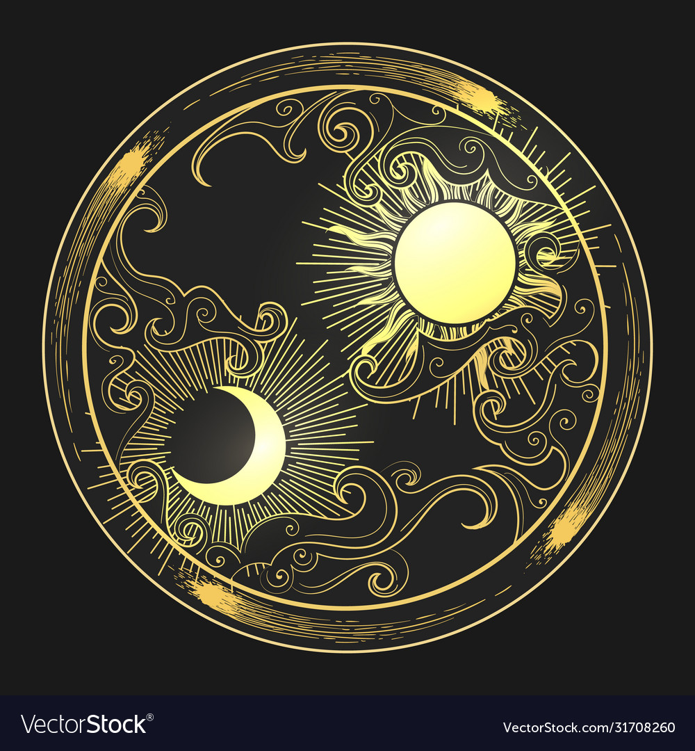 Hand drawn sun and moon in engraving oriental