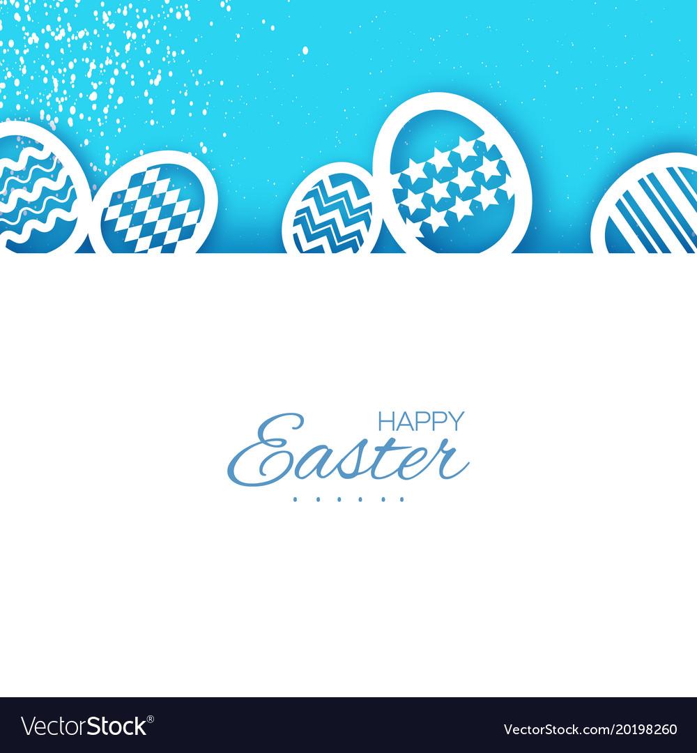 Happy Easter Greetings Card Eggs In Paper Cut Vector Image