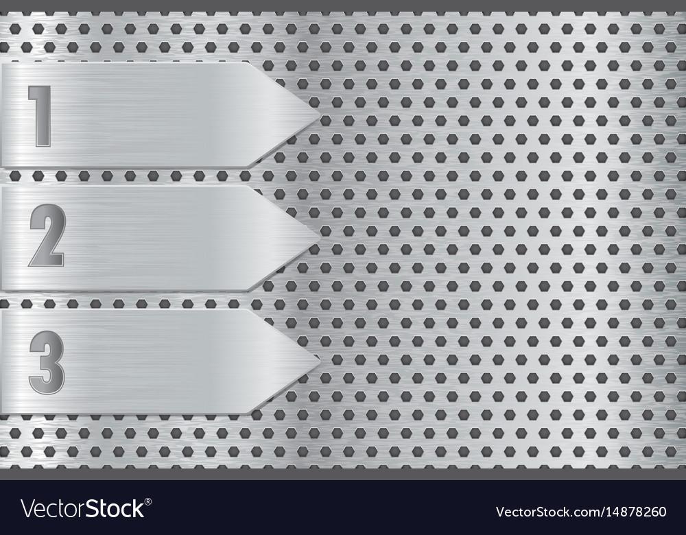 Metal perforated plate with steel arrow steel vector image