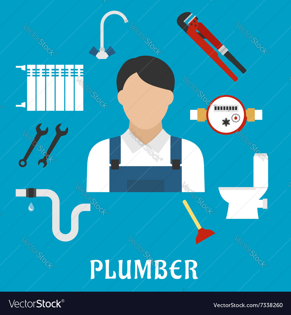 Plumber with tools and equipment flat icons