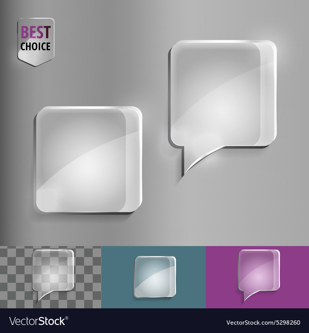 Square glass speech bubble icons with soft shadow